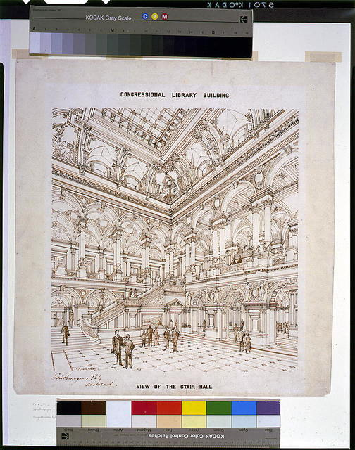 "[Library of Congress (""Congressional Library Building""), Washington, D.C. View of stair hall]"