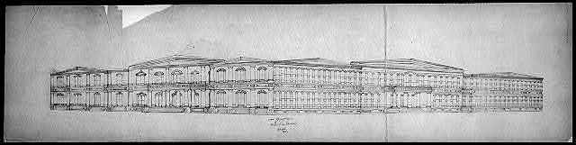 "[Library of Congress (""Congressional Library""), Washington, D.C. Line perspective of front and side elevations]"