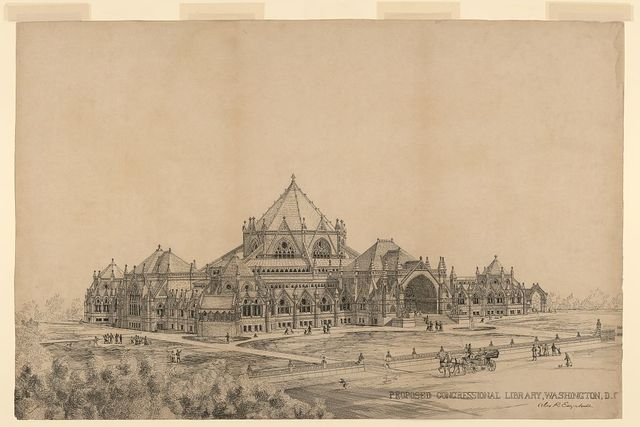 """[Library of Congress (""""Congressional Library""""), Washington, D.C. Perspective rendering] / Alex. R. Esty archt."""