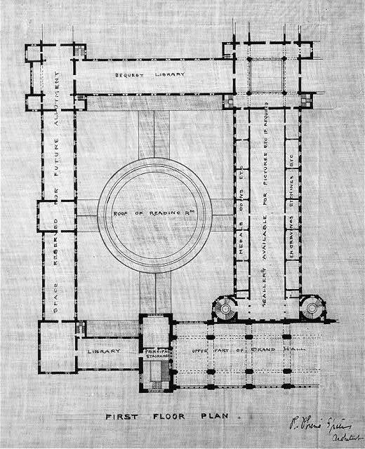 "[Library of Congress (""New Congress Library""), Washington, D.C. First floor plan]"