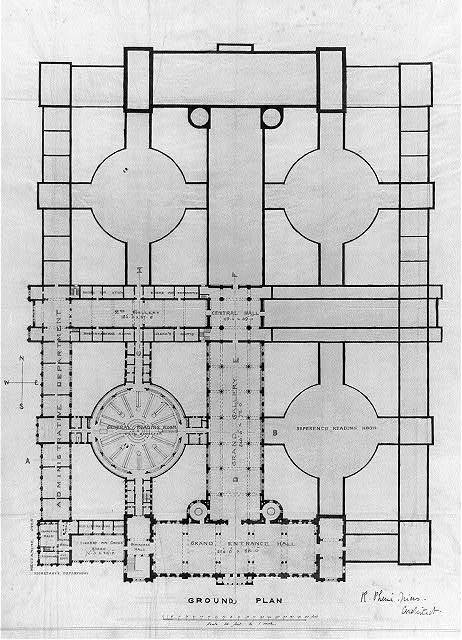 "[Library of Congress (""New Congress Library""), Washington, D.C. Ground floor plan]"