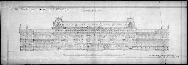 "[Library of Congress (""New Congress Library""), Washington, D.C. Principal elevation, south front]"