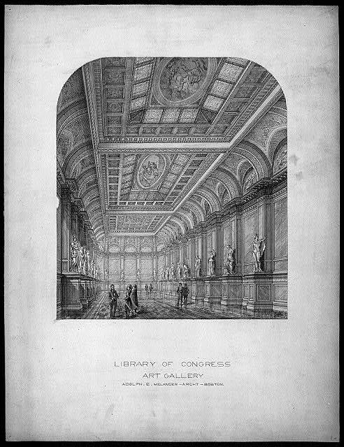 [Library of Congress, Washington, D.C. Art gallery, interior perspective] / AEM.
