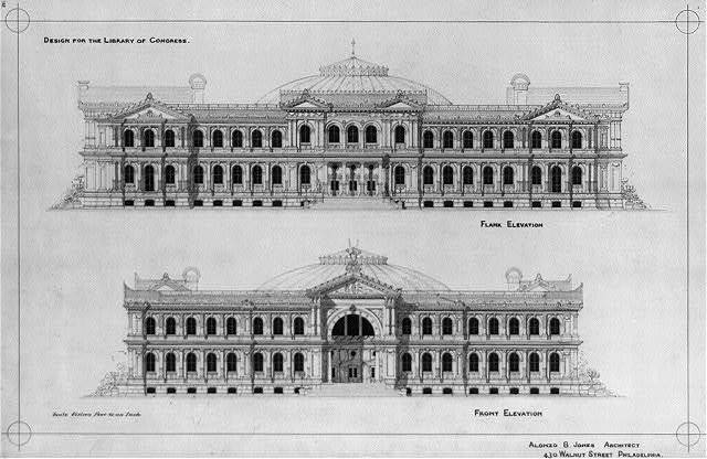 [Library of Congress, Washington, D.C. Front and flank elevations]