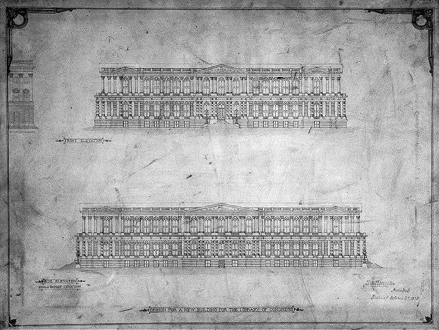 [Library of Congress, Washington, D.C. Front and side elevations]