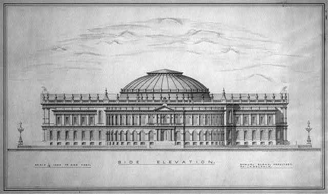 [Library of Congress, Washington, D.C. Side elevation rendering]