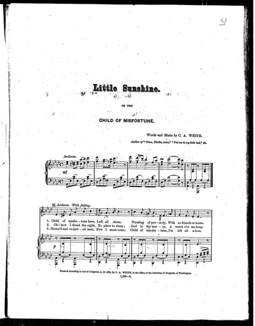 Little sunshine; or, The child of misfortune