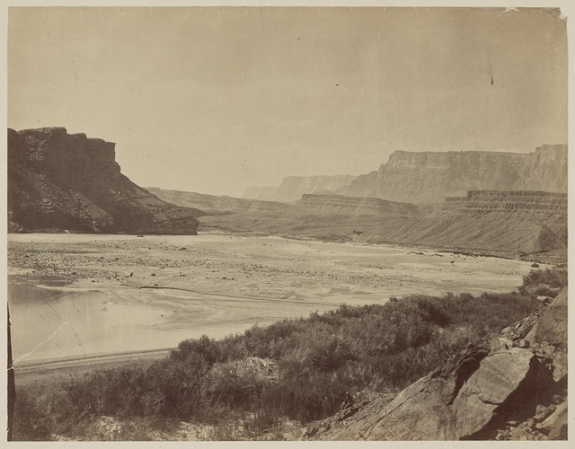 Looking across the Colorado River to mouth of Paria Creek, Arizona, 1873