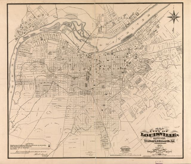 Map of the city of Louisville, Kentucky, New Albany & Jeffersonville, Ind. : from official and other surveys /