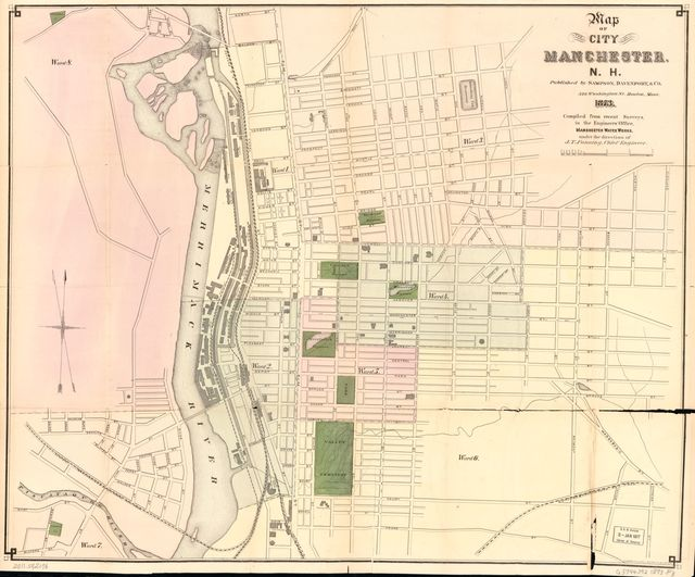 Map of the City of Manchester, N.H. : compiled from recent surveys in the Engineers Office, Manchester Water Works /