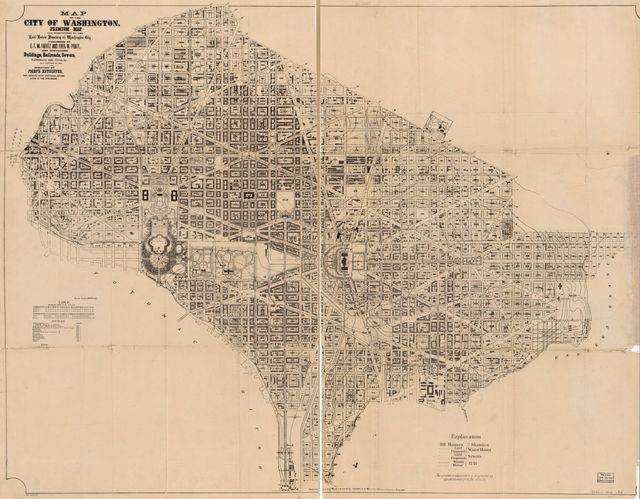 Map of the city of Washington : premium map for subscribers to the Real estate directory of Washington City published by E.F.M. Faehtz and Fred. W. Pratt : and containing buildings, railroads, sewers, watermains, fire plugs, etc. /