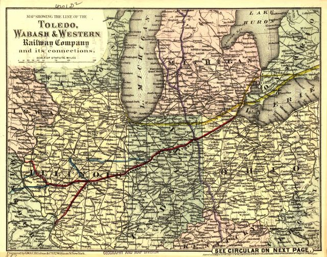 Map showing the line of the Toledo, Wabash, & Western Railway Company and its connections.