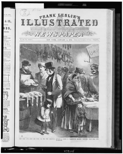 New York City - rich and poor; or, the two Christmas dinners - a scene in Washington Market, sketched from real life