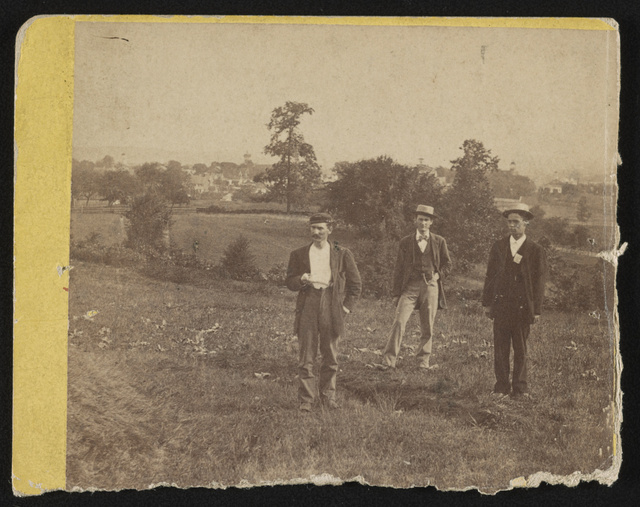 [Nicholas G. Wilson, Soldier's National Cemetery superintendent, and others on East Cemetery Hill at Gettysburg, Pennsylvania]