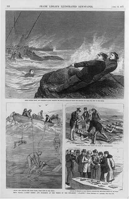"""Nova Scotia - loss of the steamship """"Atlantic"""" - scenes and incidents during and after the wreck [4-1-1873]: [4 cuts - rescue line from ship to shore; divers removing bodies; identifying bodies]"""