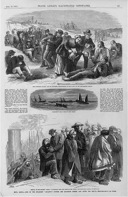 """Nova Scotia - loss of the steamship """"Atlantic"""" - scenes and incidents during and after the wreck [4-1-1873] [3 cuts - """"the fisherman Clancy and his daughter administering to ... shipwrecked people; fishermen's boats going to the wreck; ... survivors at Halifax""""]"""