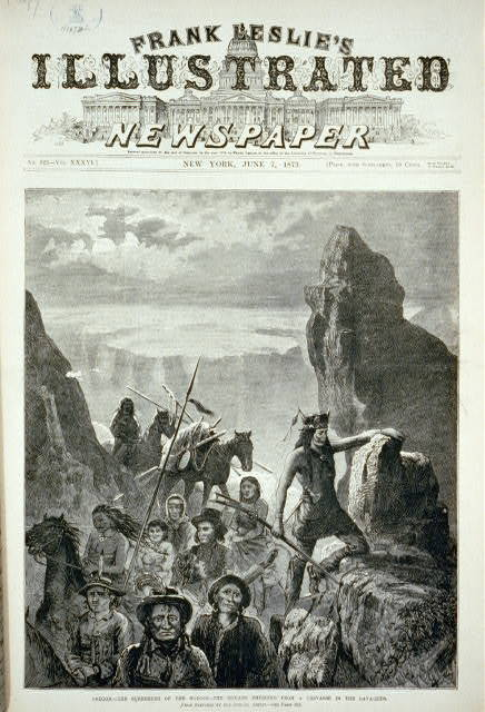 Oregon - the surrender of the Modocs - the Indians emerging from a crevasse in the lava beds