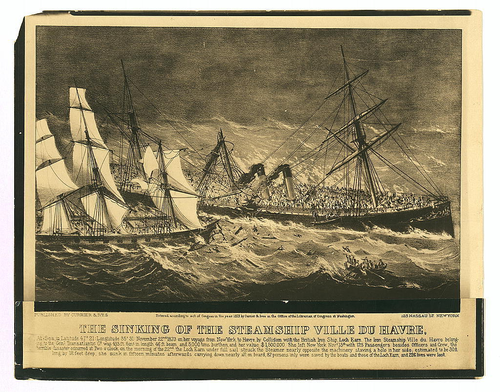 "Photographic copy of lithograph,""The Sinking of the Steamship Ville du Havre"" (1873)"