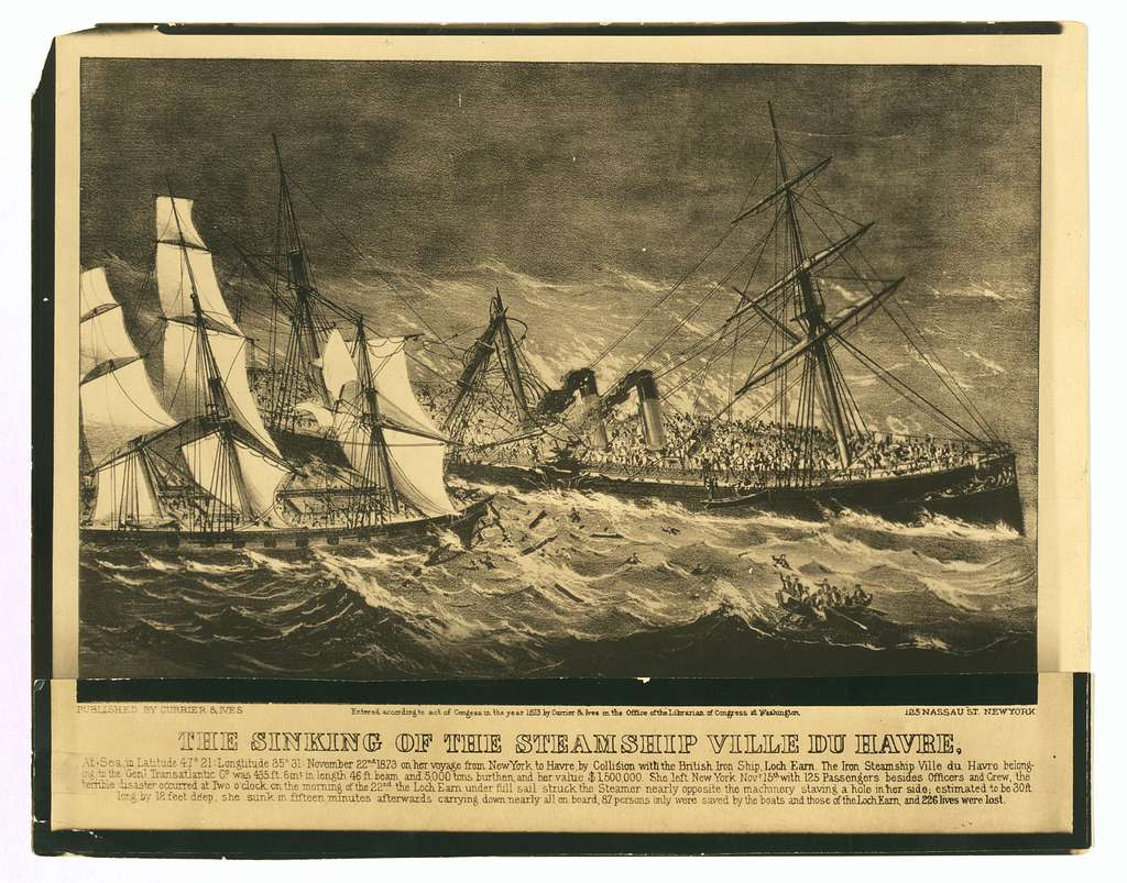 """Photographic copy of lithograph,""""The Sinking of the Steamship Ville du Havre"""" (1873)"""