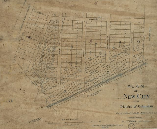Plan of New City in the District of Columbia : half a mile from Washington /