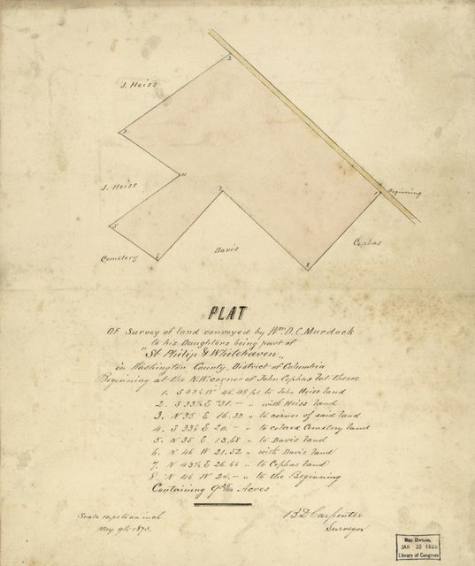 "Plat of survey of land conveyed by Wm. D.C. Murdock to his daughters being part of ""St. Philip & Whitehaven"" in Washington County, District of Columbia /"