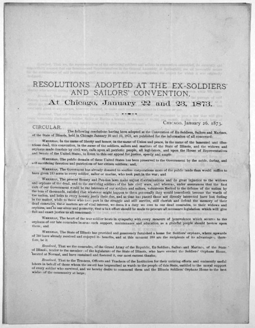 Resolutions adopted at the ex-soldiers' and sailors' convention, at Chicago, January 22 and 23, 1873.