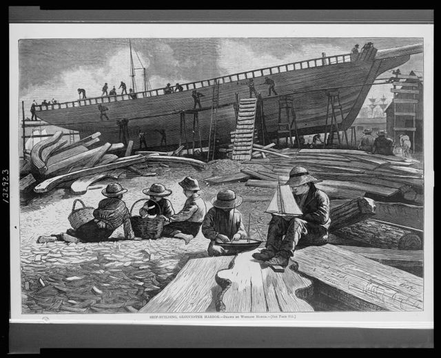 Ship-building, Gloucester Harbor / drawn by Winslow Homer ; W.H.