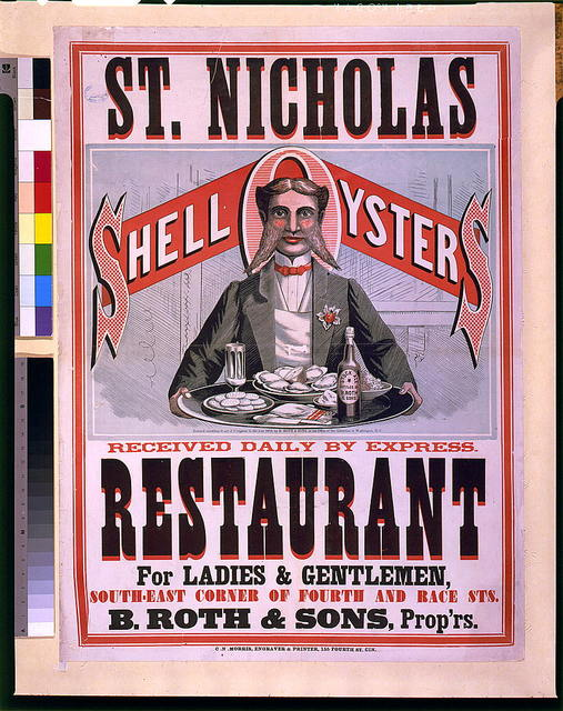 St. Nicholas Restaurant. Shell oysters received daily by express. ... B. Roth & Sons, prop'rs / C.N. Morris, engraver & printer, Cin.