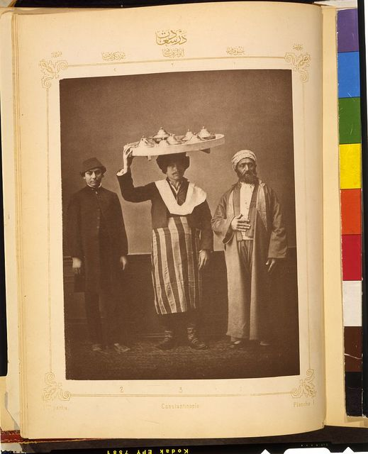[Studio portrait of models wearing clothing from İstanbul, Ottoman Empire]