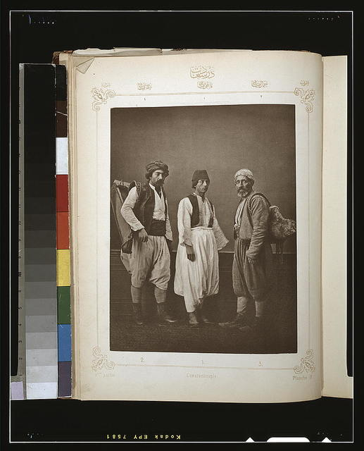 [Studio portrait of models wearing traditional clothing from İstanbul, Ottoman Empire]