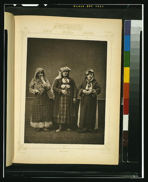 [Studio portrait of models wearing traditional clothing from the province of Adrianople (Edirne), Ottoman Empire]