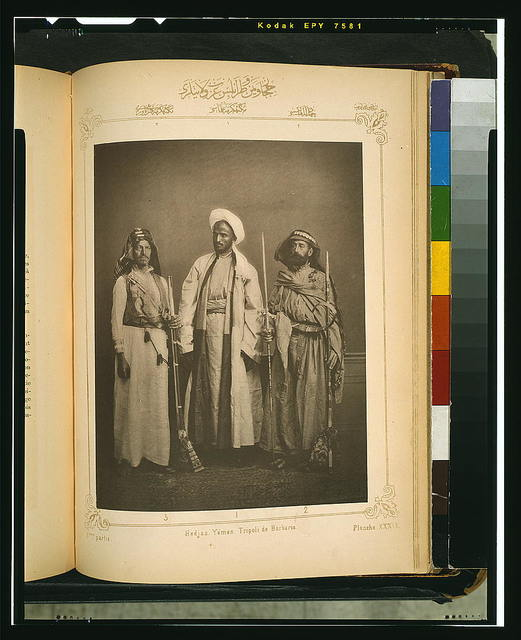 [Studio portrait of models wearing traditional clothing from the province of Hedjaz (Hejaz), Ottoman Empire]