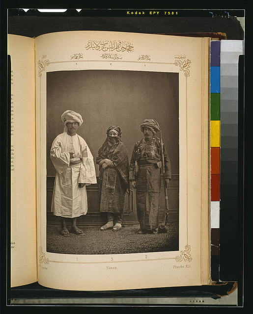 [Studio portrait of models wearing traditional clothing from the province of Yemen, Ottoman Empire]