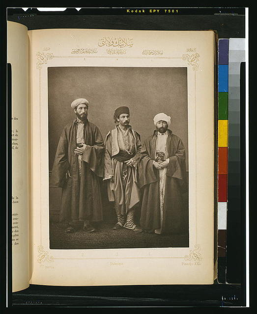 [Studio portrait of models wearing traditional clothing from the province of Selanik (Salonica), Ottoman Empire]