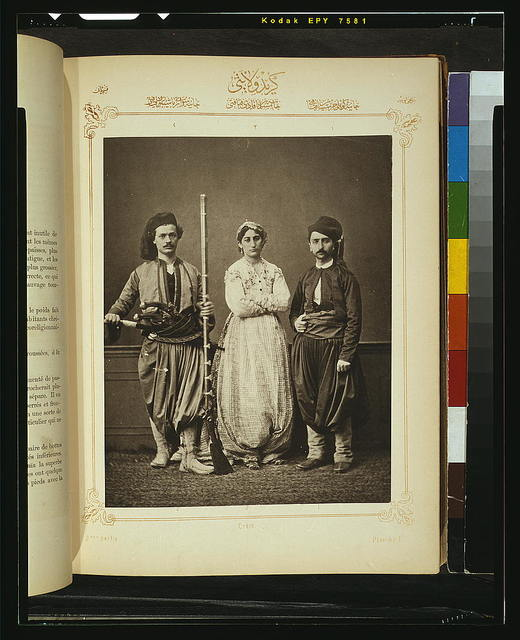 [Studio portrait of models wearing traditional clothing from the province of Krid (Crete), Ottoman Empire]