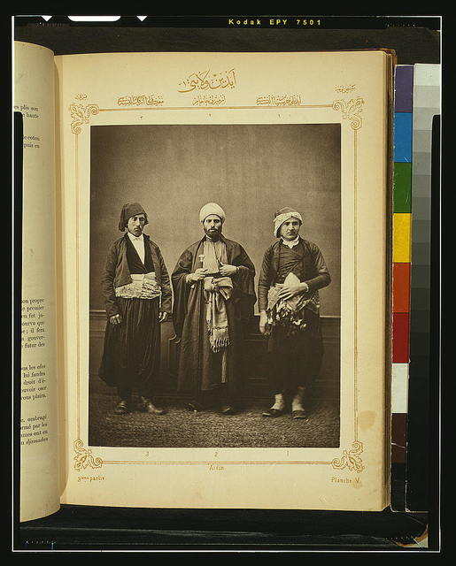 [Studio portrait of models wearing traditional clothing from the province of Aı̈din (Aydın), Ottoman Empire]