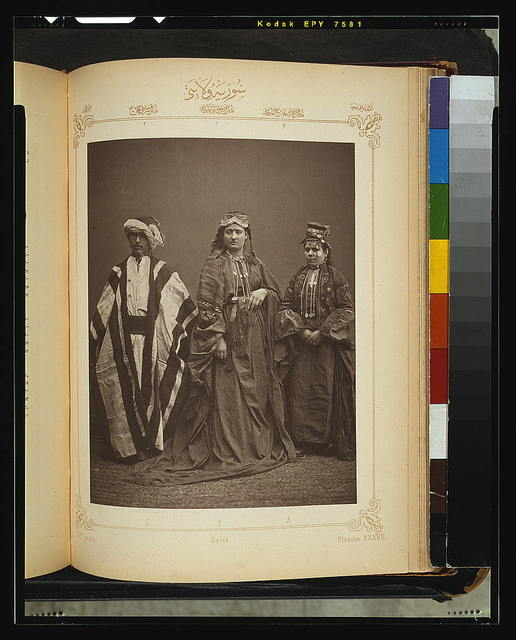 [Studio portrait of models wearing traditional clothing from the province of Surı̈yè (Syria), Ottoman Empire]
