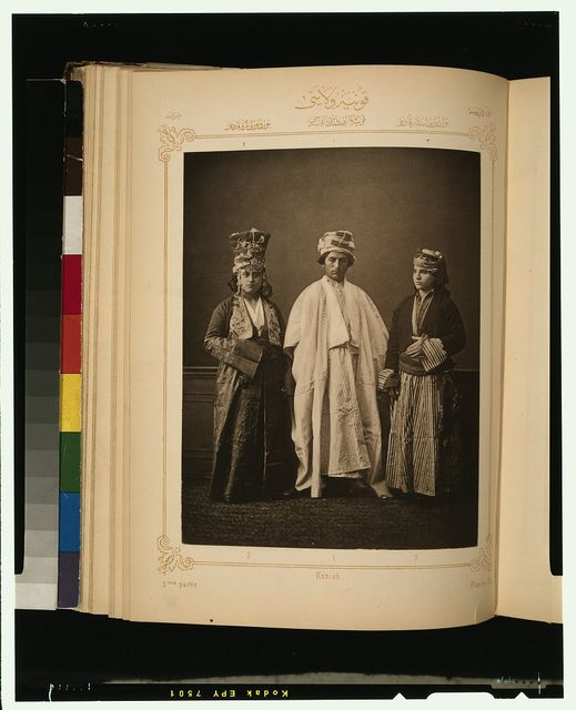 [Studio portrait of models wearing traditional clothing from the province of Koniah (Konya), Ottoman Empire]