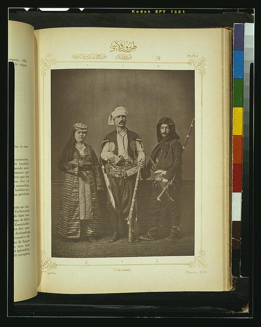 [Studio portrait of models wearing traditional clothing from the province of Trébizonde (Trabzon), Ottoman Empire]