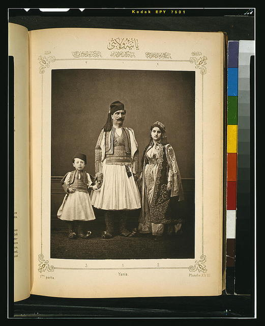 [Studio portrait of models wearing traditional clothing from the province of Yanı̈a (Yanya), Ottoman Empire]