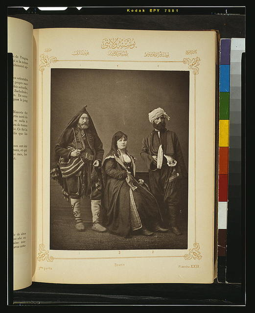[Studio portrait of models wearing traditional clothing from the province of Bosna (Bosnia), Ottoman Empire]