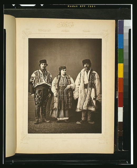 [Studio portrait of models wearing traditional clothing from the province of Touna (Danube), Ottoman Empire]