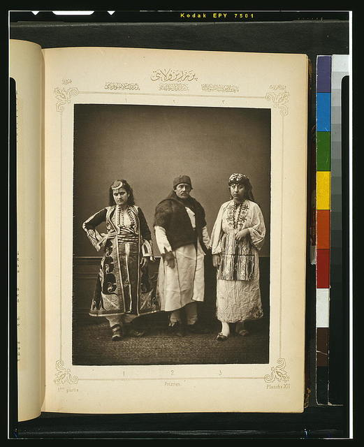 [Studio portrait of models wearing traditional clothing from the province of Prizren (Prisren), Ottoman Empire]
