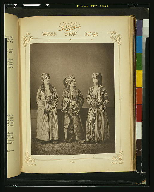 [Studio portrait of models wearing traditional clothing from the province of Sivas, Ottoman Empire]