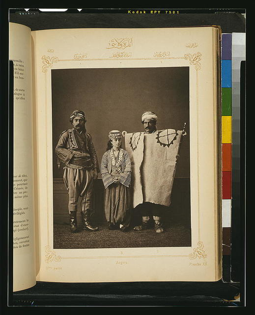 [Studio portrait of models wearing traditional clothing from the province of Angora (Ankara), Ottoman Empire]