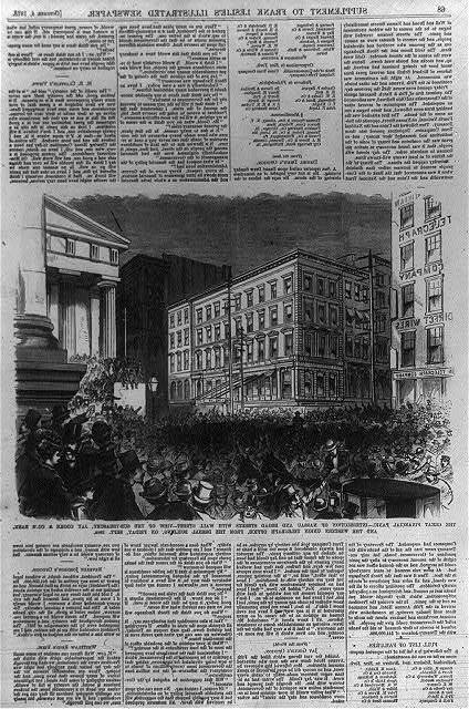 The great financial panic - intersection of Nassau and Broad Streets with Wall Street view of the Sub-Treasury, Jay Cooke & Co's Bank and the Western Union Telegraph Office from the Drexel Building on Sept. 19, 1873