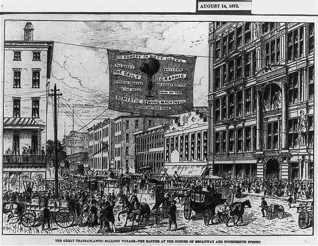 The great transatlantic balloon voyage. The banner at the corner of Broadway and Fourteenth street / S. Fox.