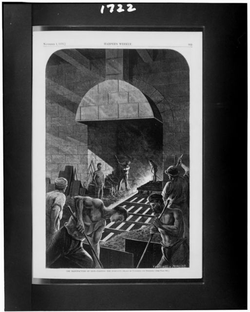 The Manufacture of iron--tapping the furnace / drawn by Tavernier and Frenzeny.