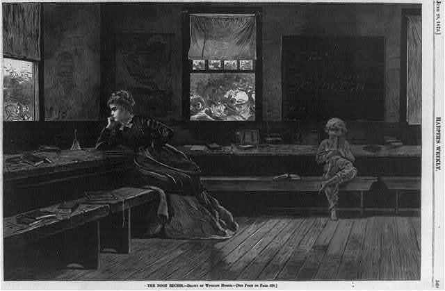 The noon recess [Teacher and boy reading; children are seen through window playing]