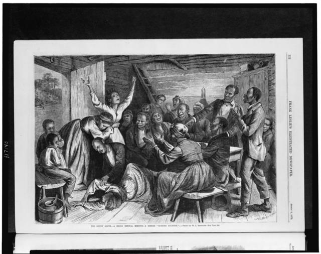 """The sunny South--a negro revival meeting--a seeker """"getting religion"""" / W.L. Sheppard del."""